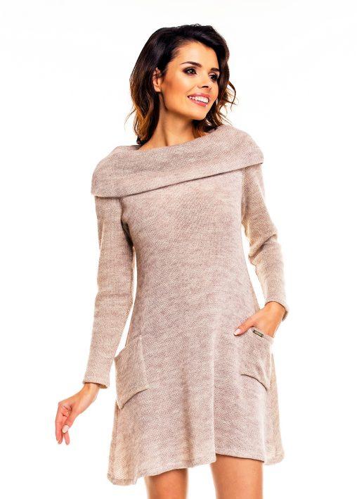Dzianinowa sweterkowa sukienka damska beżowav