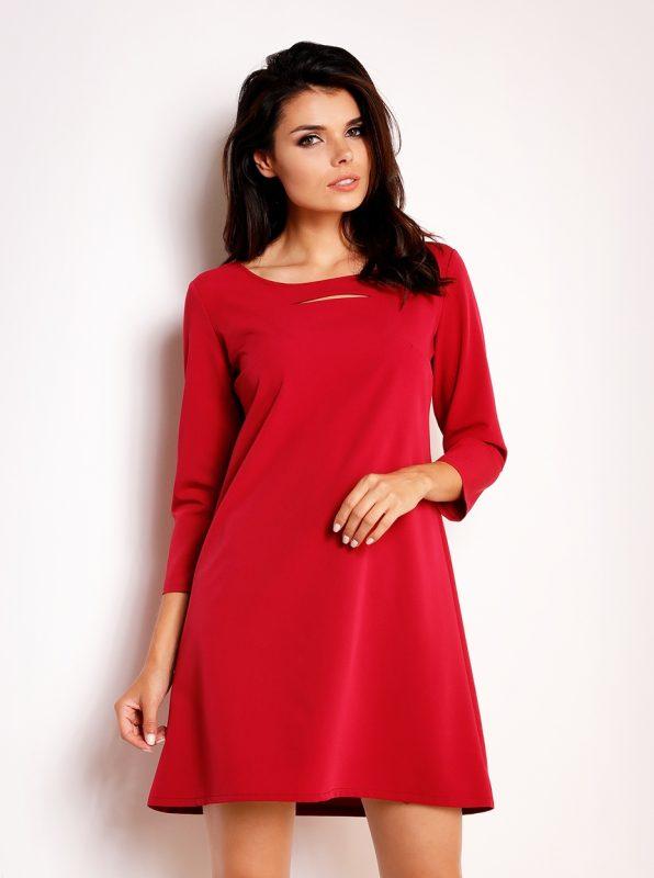 Czerwona trapezowa sukienka damska z wycięciem w biuście