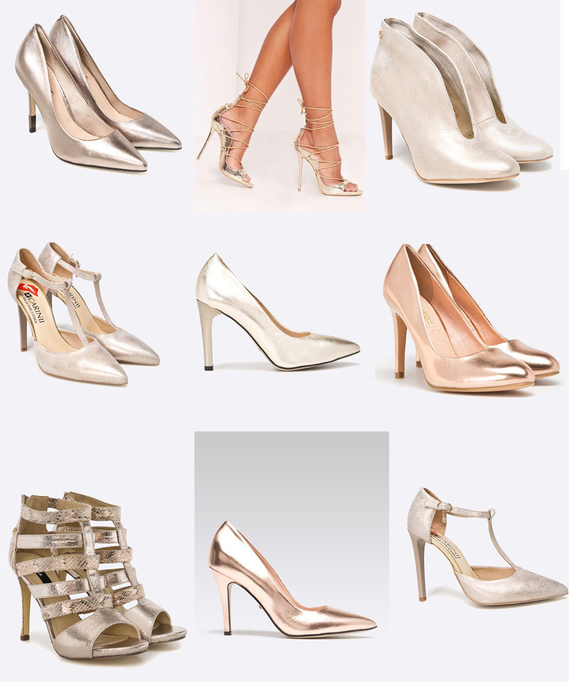 zlote szpilki buty