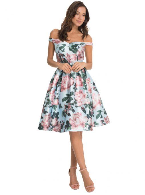 Sukienka w kwiaty na wesele i studniówkę błękitna