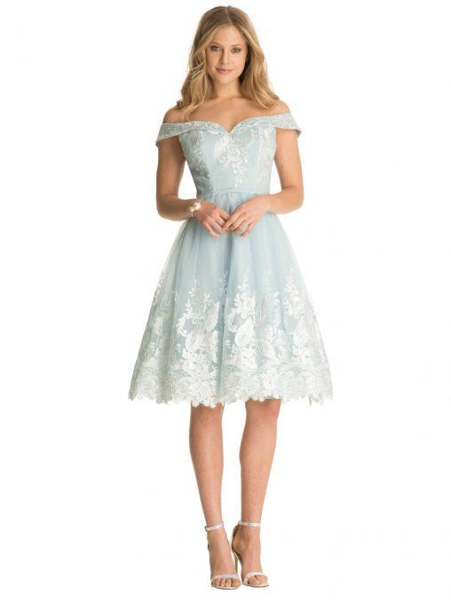 Romantyczna sukienka na wesele błękitna