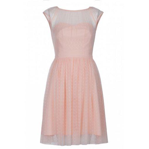 Pastelowo różowa sukienka z siateczką na wesele