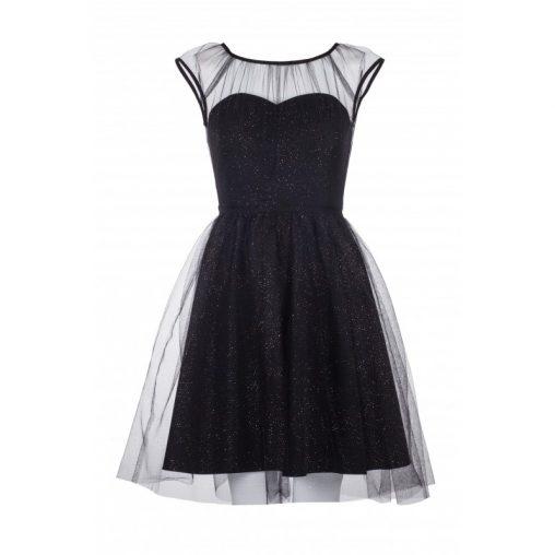 Czarna sukienka z siateczką na sylwestra