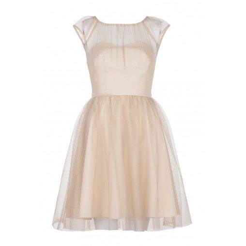 Złota sukienka z siateczką na sylwestra
