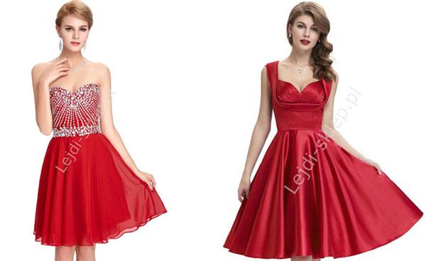 Krótka czerwona sukienka na studniówkę midi