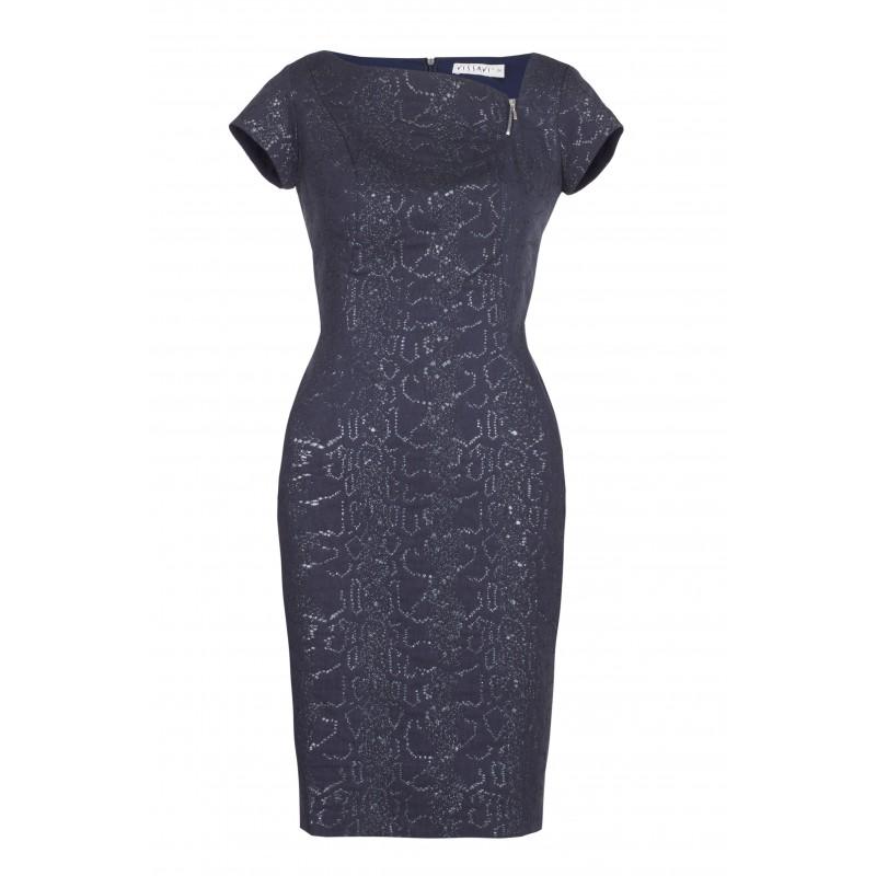 Elegancka sukienka ołówkowa na sylwestra granatowa