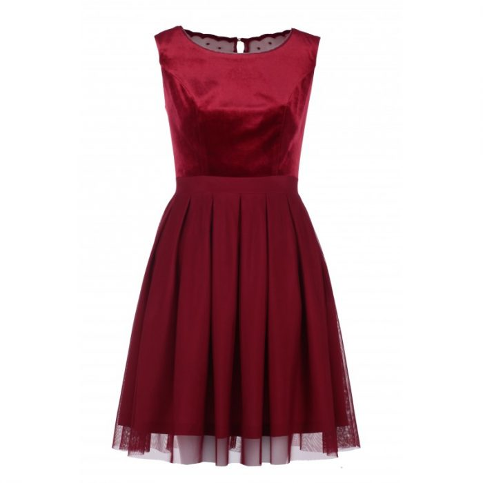 Elegancka rozkloszowana bordowa sukienka na sylwestra