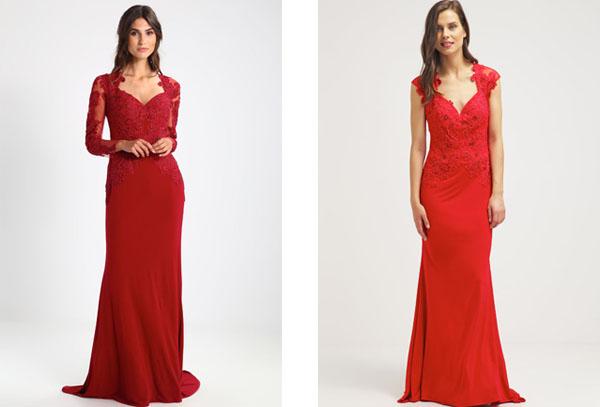 Długa czerwona suknia wieczorowa na studniówkę