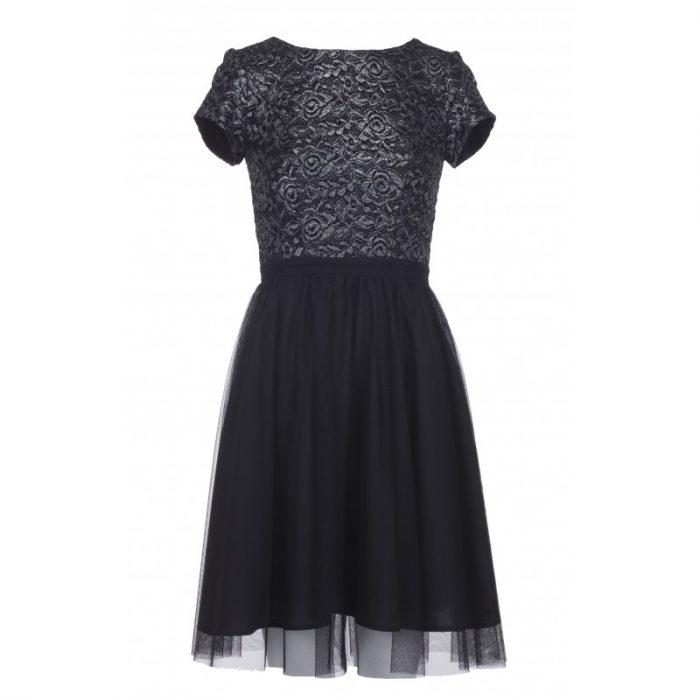 Sylwestrowa sukienka z siateczki czarna