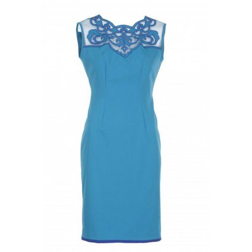 Niebieska elegancka sukienka ołówkowa z siateczką