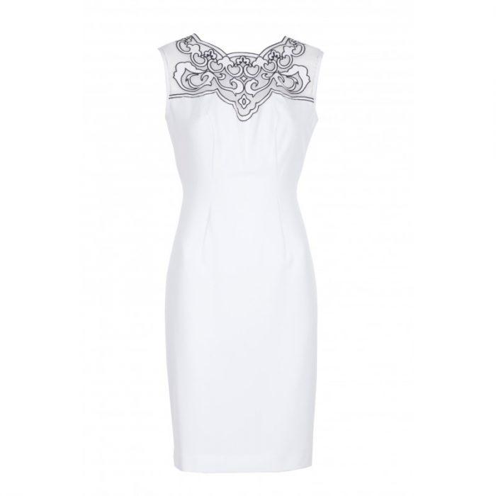 Elegancka sukienka ołówkowa z siateczką ecru