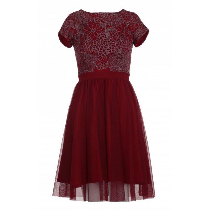 Sylwestrowa sukienka z siateczki bordowa