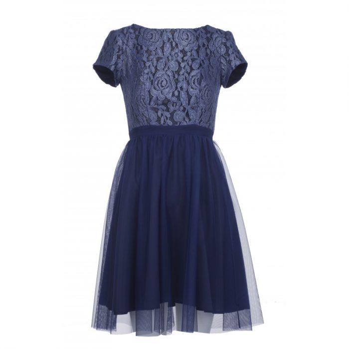 Sylwestrowa sukienka z siateczką granatowa