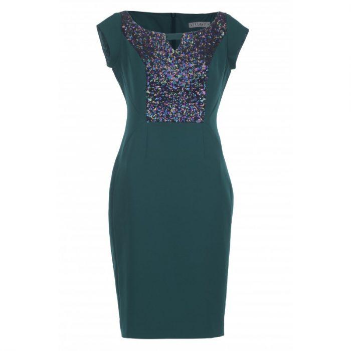 Sylwestrowa sukienka ołówkowa z cekinami i ekoskórą zielona