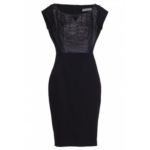 Sylwestrowa sukienka ołówkowa z cekinami i ekoskórą czarna