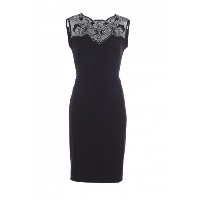 Czarna elegancka sukienka ołówkowa z siateczką
