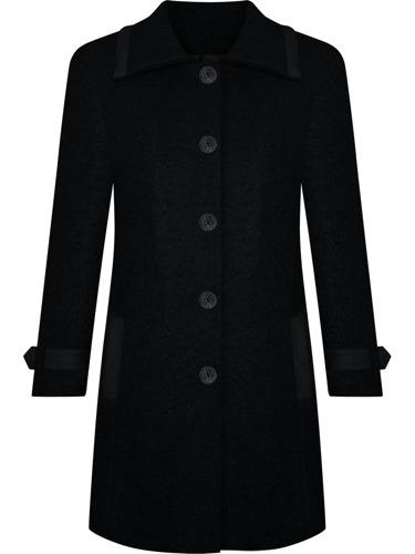 Wełniany czarny ocieplany płaszcz damski