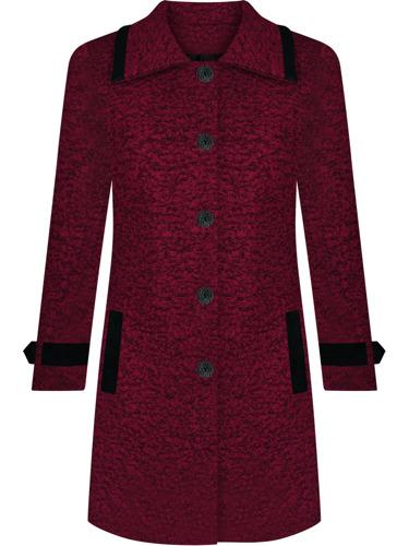 Czerwony ocieplany płaszcz damski