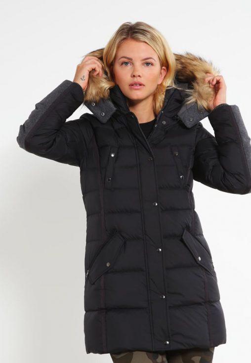 Długa puchowa kurtka damska z kapturem czarna