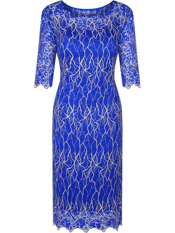 Niebieska koronkowa sukienka wieczorowa
