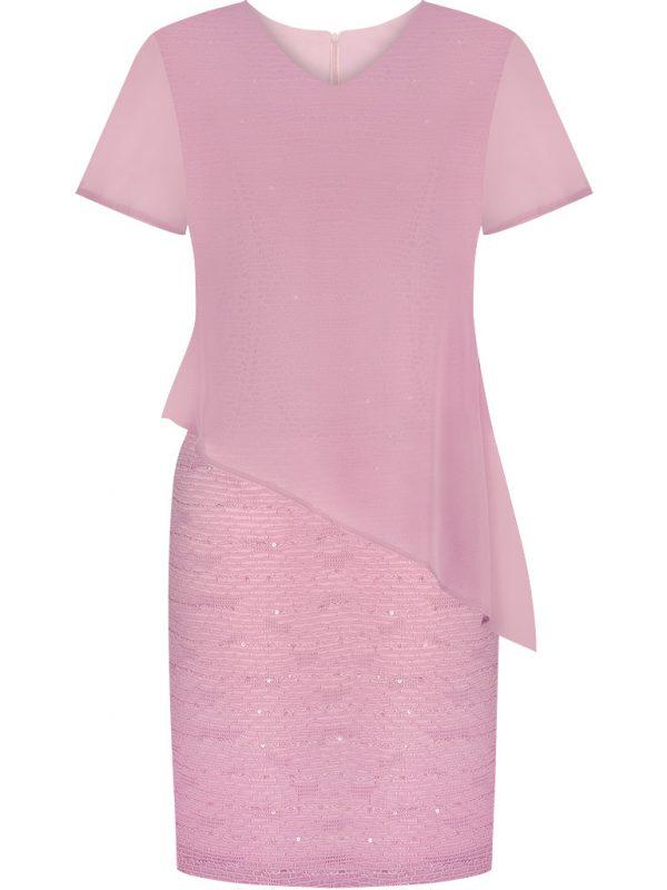 Różowa sukienka z cekinami na wesele lub sylwestra