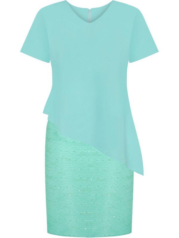 Miętowa sukienka z cekinami na sylwestra lub wesele