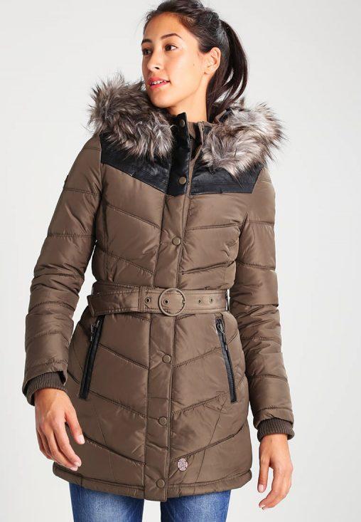 Długa kurtka damska z kapturem brązowa