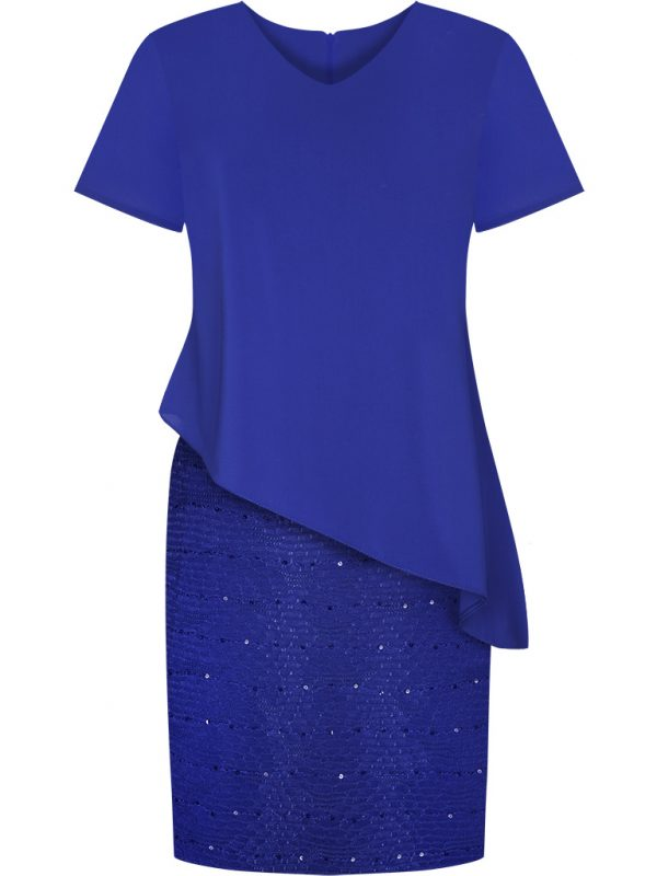 Niebieska sukienka z cekinami na wesele lub sylwestra