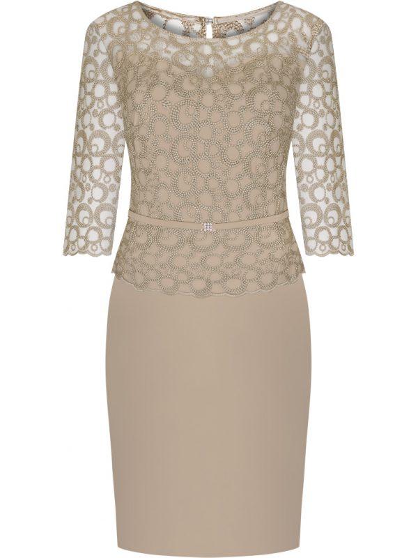 Elegancka beżowa sukienka z koronką