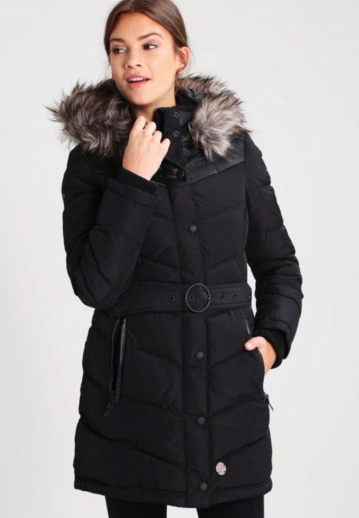 Długa czarna kurtka damska z kapturem