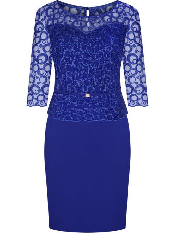 Elegancka sukienka koronkowe rękawy niebieska