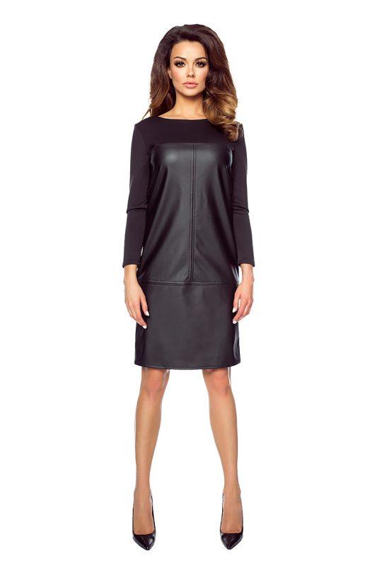 Czarna prosta sukienka z ekoskóry