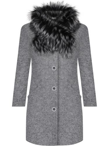 Wełniany szary płaszcz zimowy damski ocieplany z futerkiem
