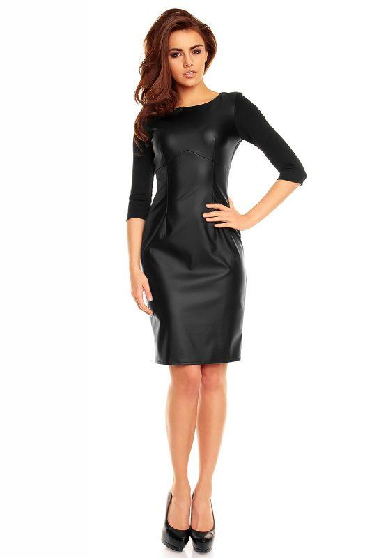 Ołówkowa czarna sukienka z eko skóry