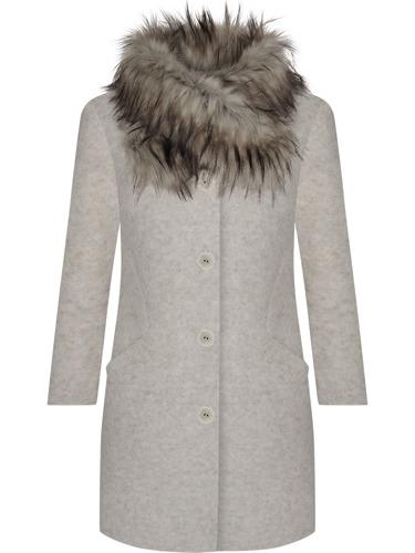 Wełniany płaszcz zimowy damski ocieplany z futerkiem beżowy