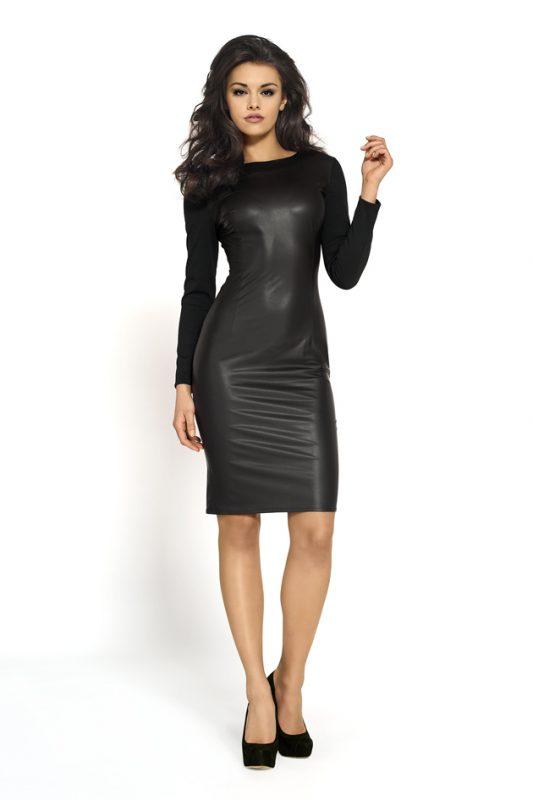Czarna ołówkowa sukienka z eko skóry