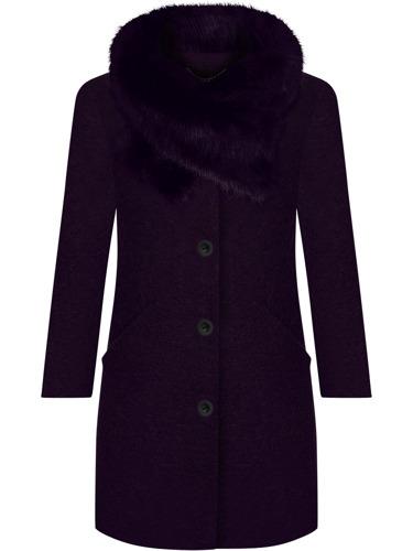 Wełniany płaszcz zimowy damski ocieplany z futerkiem śliwkowy