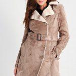 Ciepły zimowy płaszcz prochowiec damski beżowy