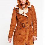 Ciepły zimowy płaszcz prochowiec damski brązowy