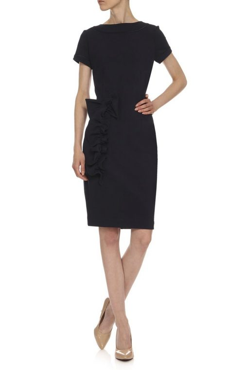 Elegancka sukienka ołówkowa z falbaną granatowa