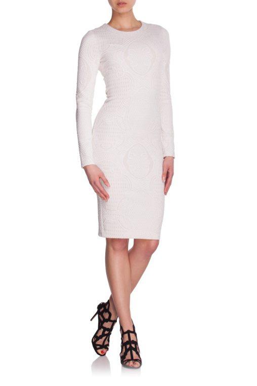 Elegancka sukienka do kolan złoty haft biała