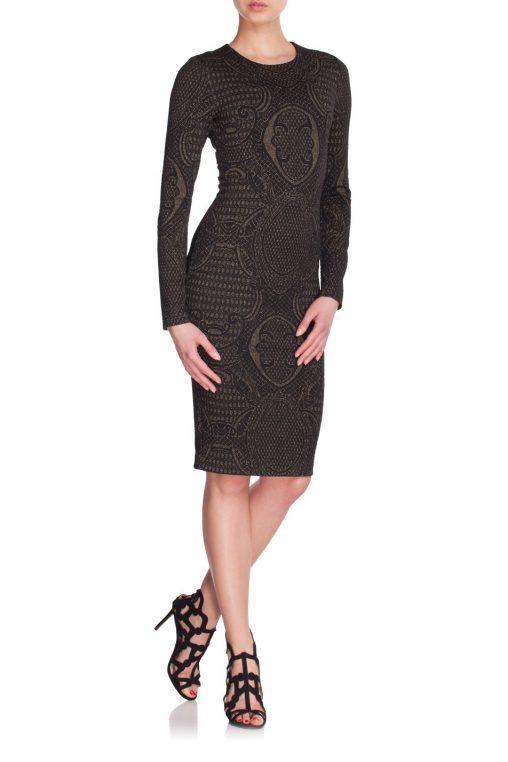 Elegancka czarna sukienka do kolan złoty haft