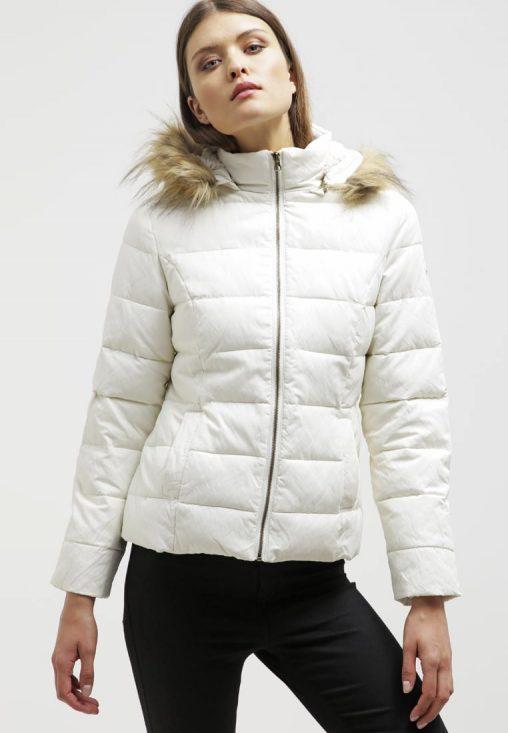 Biała kurtka puchowa z kapturem