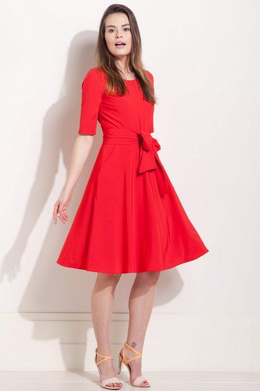 Rozkloszowana sukienka z kokardą czerwona