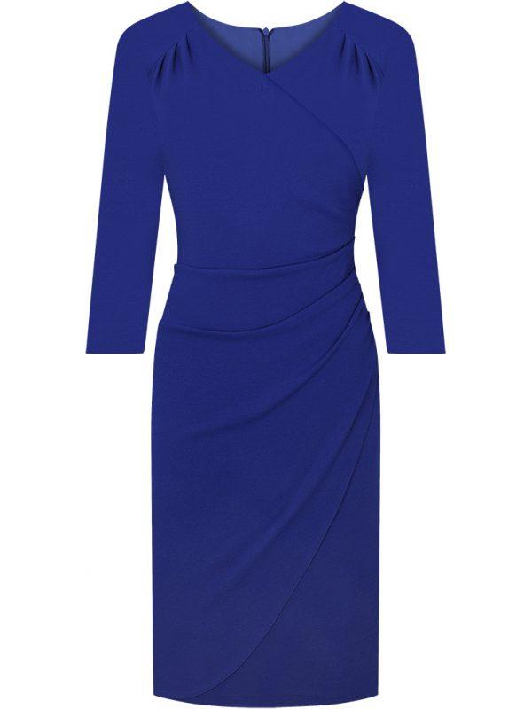 Elegancka kopertowa sukienka wizytowa niebieska