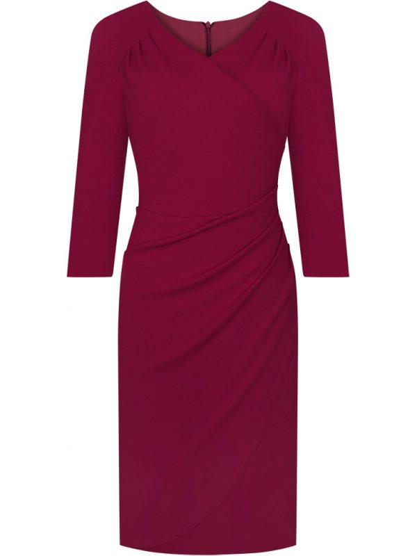 Elegancka czerwona kopertowa sukienka wizytowa
