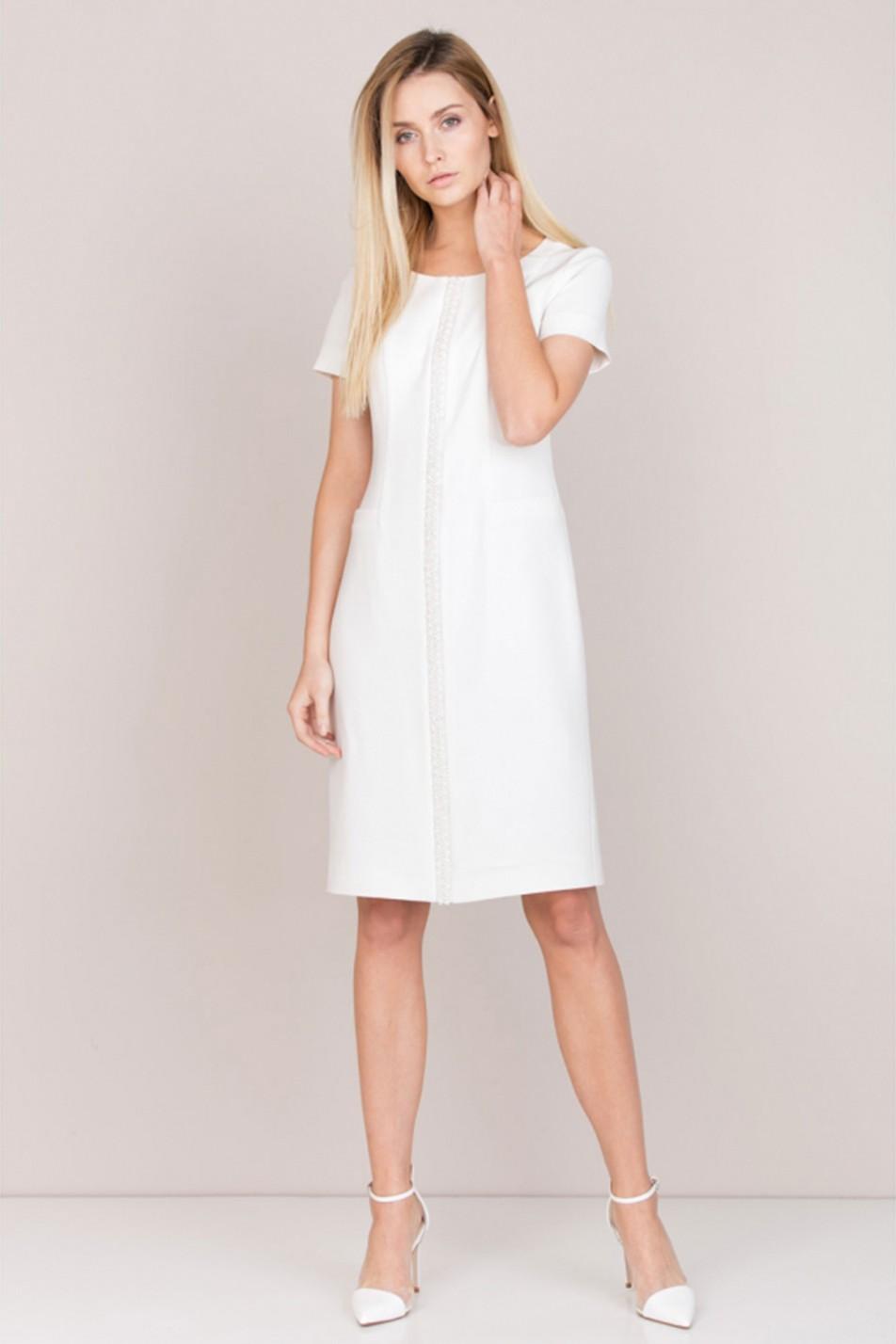 Biała elegancka sukienka do kolan