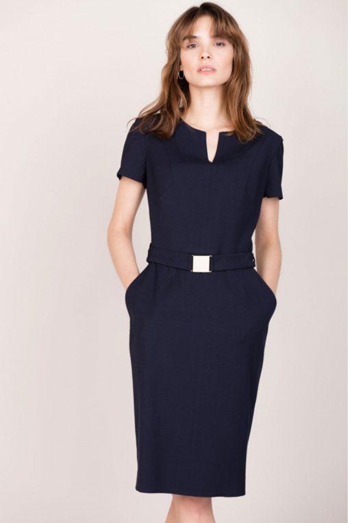 Elegancka sukienka z kieszeniami granatowa