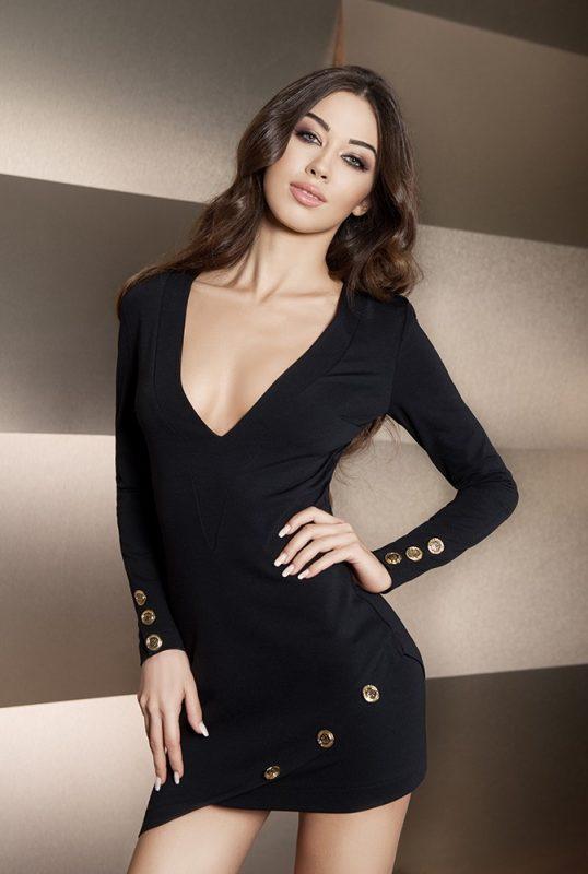 Asymetryczna czarna sukienka tunika ze złotymi guzikami