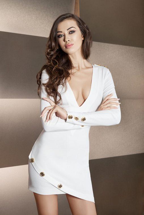 Asymetryczna sukienka tunika ze złotymi guzikami ecru